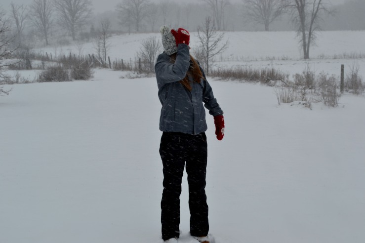 outside in the snow